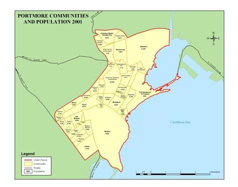 map of portmore jamaica portmore communities and population 2001