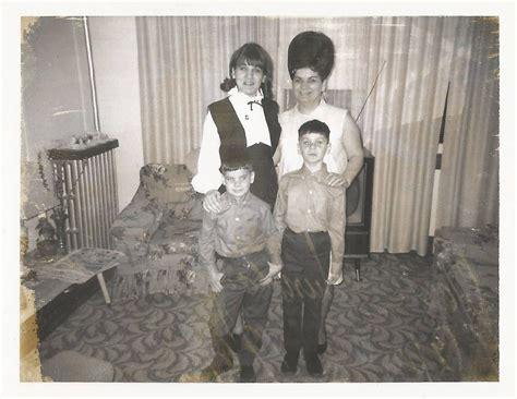 """Vintage Snapshot """"Creepy Family"""" Beehive Hairstyle Red Eye Black & White Polaroid Found"""
