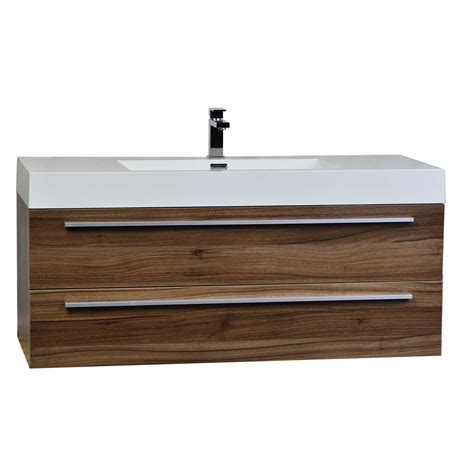 47 quot wall mount contemporary bathroom vanity walnut