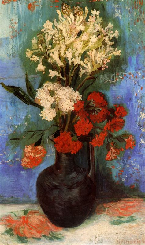 Gogh Vase Of Flowers by Vase With Carnations And Other Flowers Gogh Vincent