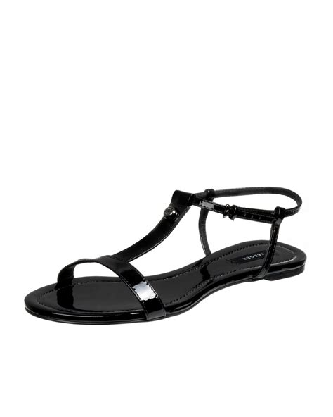 jaeger t bar flat sandal in black lyst
