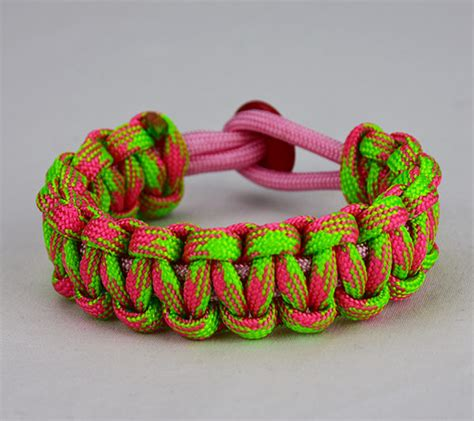 Soft Pink, Pink, and Neon Green Camouflage Paracord Bracelet   Multi Color w/ Red Button ? Unity