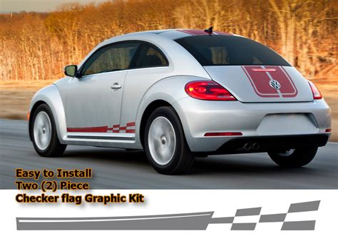checkered flag body side graphic kit   volkswagen beetle