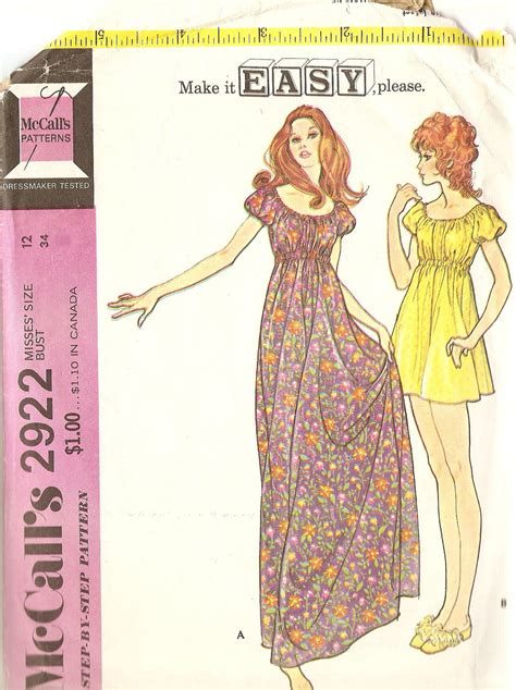 vintage nightdress pattern vintage sewing pattern peasant nightgown and by cherrycorners