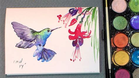 how to water color paint a hummingbird in watercolors easy