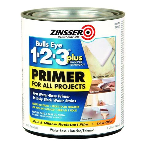 Zinsser Ceiling Paint Review by Zinsser 1 Qt Bulls Eye 1 2 3 Plus Interior Exterior Water