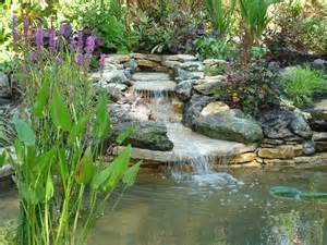 Small Garden Waterfall Ideas Garden Ponds And Waterfalls Pond Design With Stilted Deck Area And Planting Herbs And