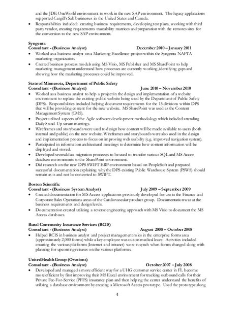 project analyst resume sle sle resume for business analyst in sdlc phases for