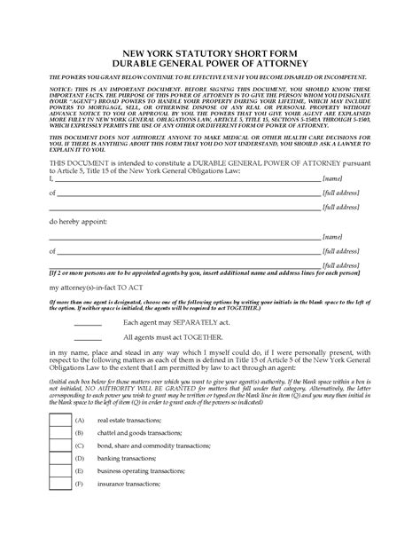 New York Durable General Immediate Power Of Attorney Legal Forms And Business Templates Power Of Attorney Template Ny