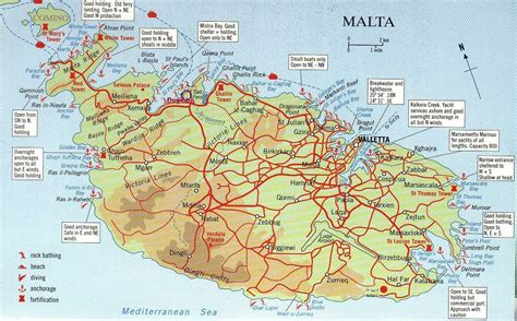map of malta large road map of south malta south malta large road map