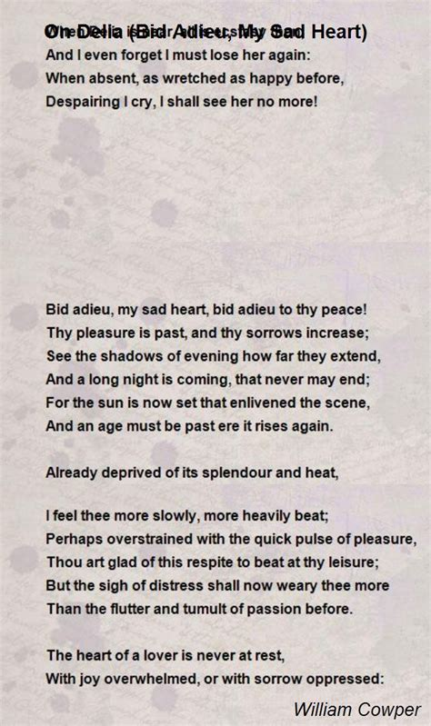 bid adieu on delia bid adieu my sad poem by william cowper