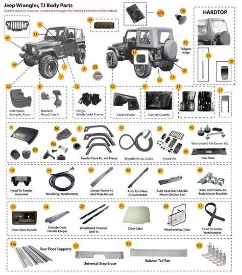 97 jeep wrangler accessories jeep wrangler parts and accessories 97 06 tj tjl