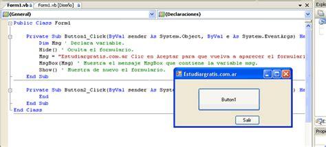 mostrar imagenes visual basic aprender visual basic gratis estudiar gratis net