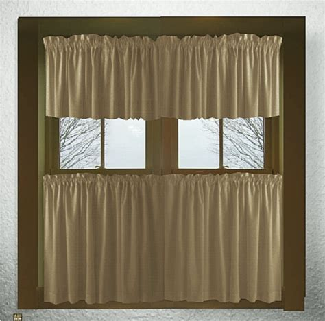 cafe curtain length solid taupe khaki cotton kitchen tier cafe curtains