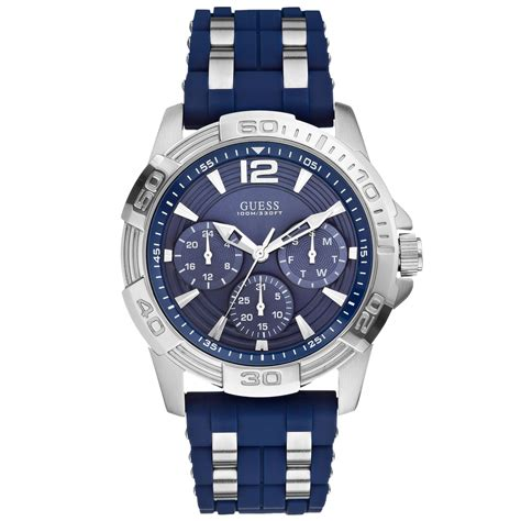 Guess Men'S Chronograph Blue Silicone And Silver Tone Bracelet Watch 43Mm U0366G2 in Blue for