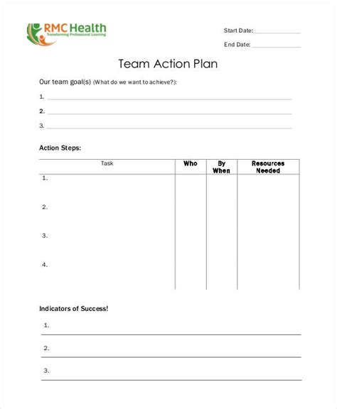 Team Plan Template by Team Plan Templates 9 Free Pdf Format