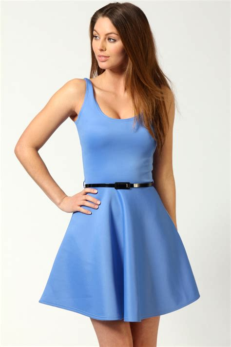 Womens Dressers by Boohoo Womens Scoop Neck Skater Dress Ebay