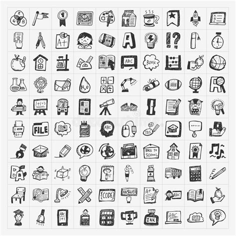 doodle draw icon pack apk back to school doodle draw icon set stock vector
