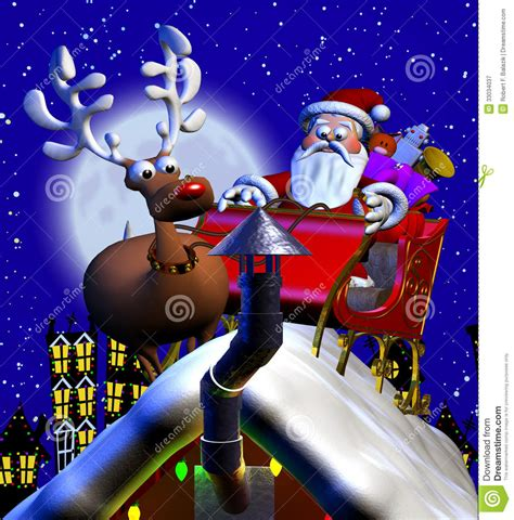rooftop santa and sleigh stock illustration image of