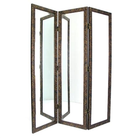 mirrored room divider in brown and gold ms008