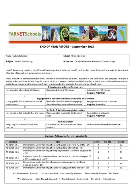 sle of year end report template for e learning end of year report