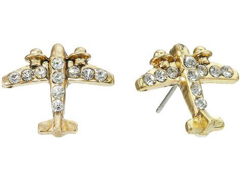 Plane Earrings betsey johnson gold plane stud earrings