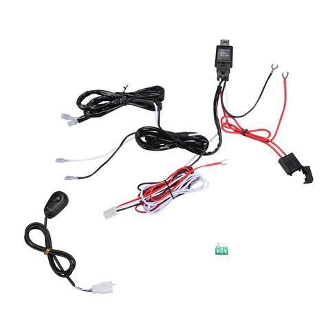 universal led work driving fog lights bar wiring harness