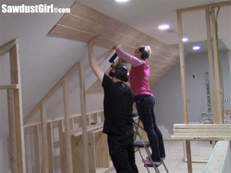 V Groove Plywood Plank Ceiling Sawdust Girl 174 Tongue And Groove Ceiling Installation