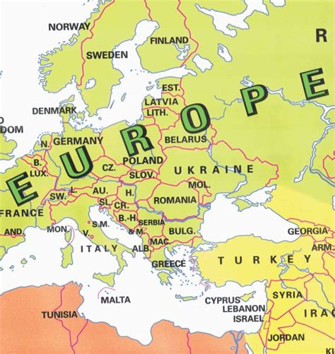 labeled europe map map of europe countries labeled map travel