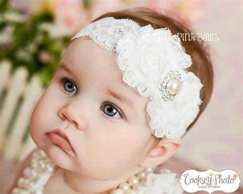 white baby headband shabby chic headband by thinkpinkbows