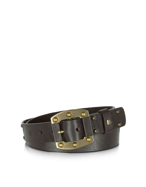 nuovedive brown studded leather s belt in black lyst