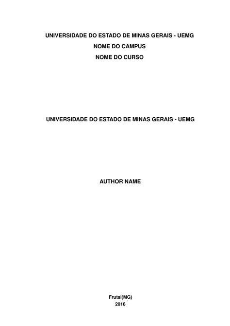 Modelo TCC Universidade do Estado de Minas Gerais - UEMG