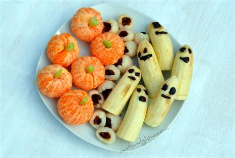 healthy treat recipes healthy treats lychee eyeballs banana ghosts clementine pumpkins nest