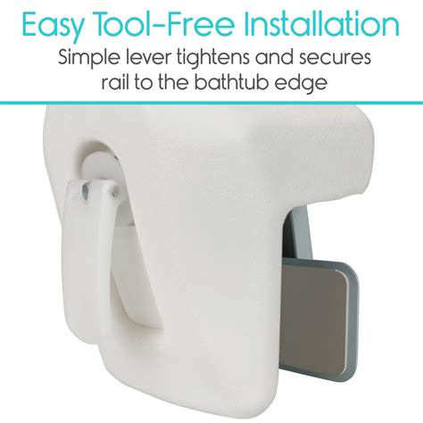 vive bathtub rail heavy duty bathroom tub safety rail  elderly seniors handicap