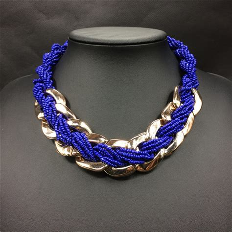 Handmade Statement Necklaces - trendy gold plated blue resin ccb choker
