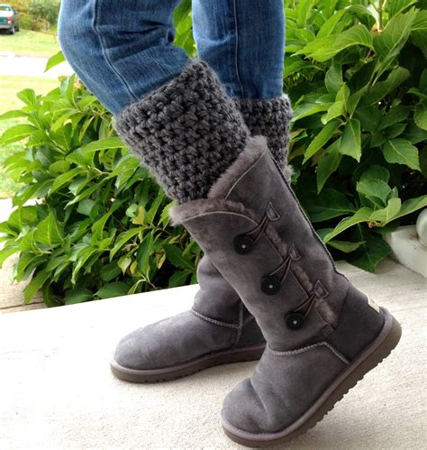 boot warmers crochet leg warmers boot cuffs for uggs charcoal gray