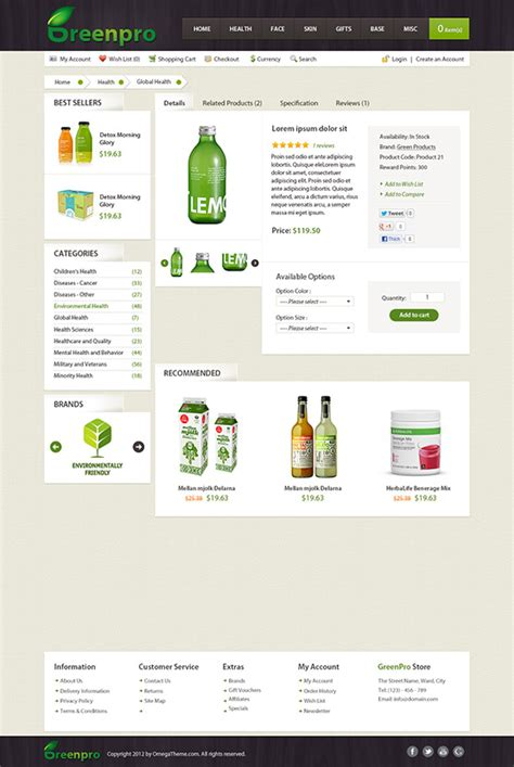 ot greenpro modern shopping cart and business joomla