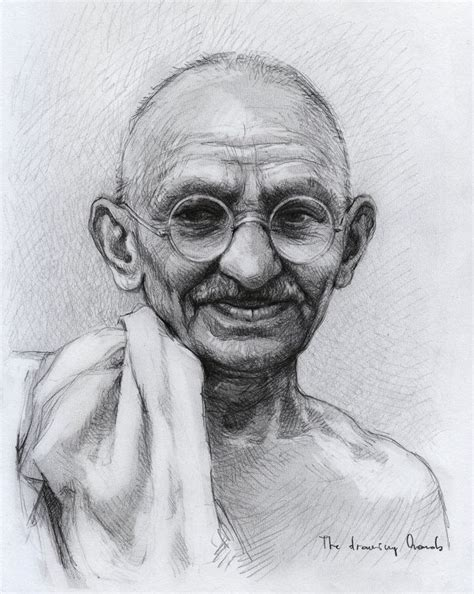 F Drawing Pencil by Mohandas Karamchand Gandhi By Thedrawinghands On