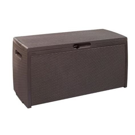 patio box home depot keter 70 gal rattan storage deck box 207818 the home depot