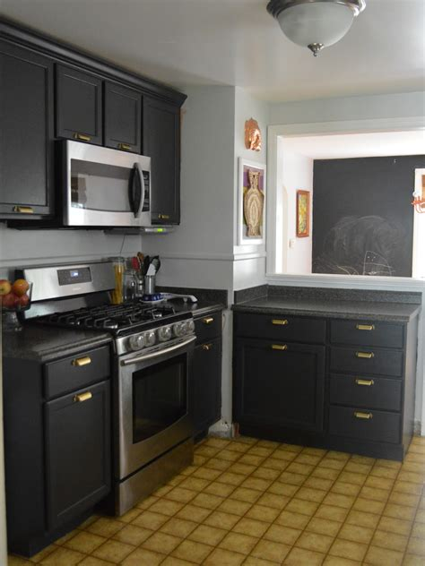 picture of small kitchen design black cabinets and grey
