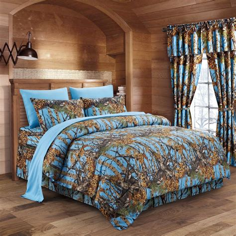 camo bed sets powder blue camo bed in a bag set the sw company