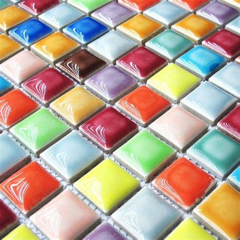 farbige wandfliesen rainbow colorful multi colors ceramic mosaic bathroom