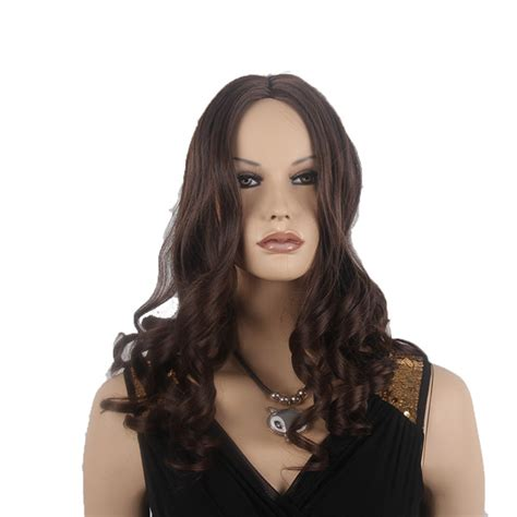 ls030 stylish medium long straight style synthetic fiber womens fashion style synthetic medium long curly wig brown color