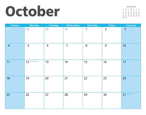 October 2015 Calendar Page Free Stock Photo