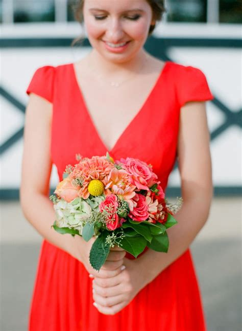 Pashmina Instan Poppy Pop poppy bridesmaid dress j crew paired with colourful bouquet bridesmaids and flower
