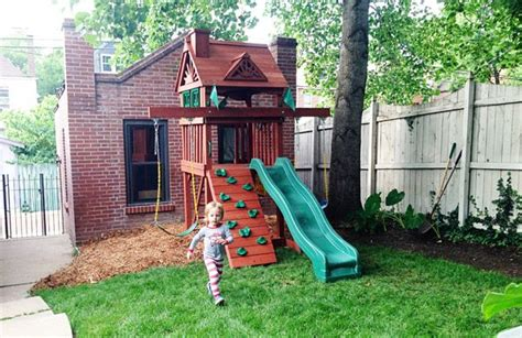 sweet small yard swing set solution backyard