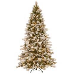 national tree snowy impearial national tree company 7 1 2 ft snowy westwood pine hinged artificial tree with 650
