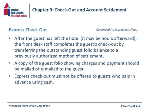 Hotel Payment Reminder Letter Chapter 9 Check Out Account Settlement