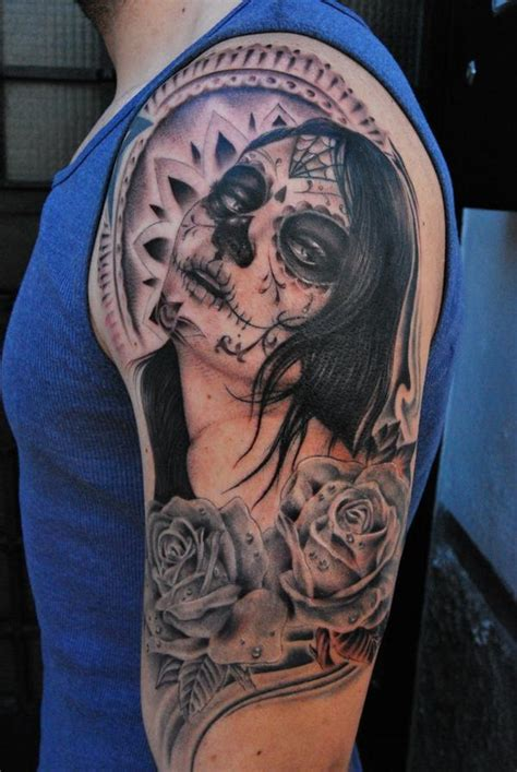 black rose of death tattoo black and gray santa muerte with roses on shoulder