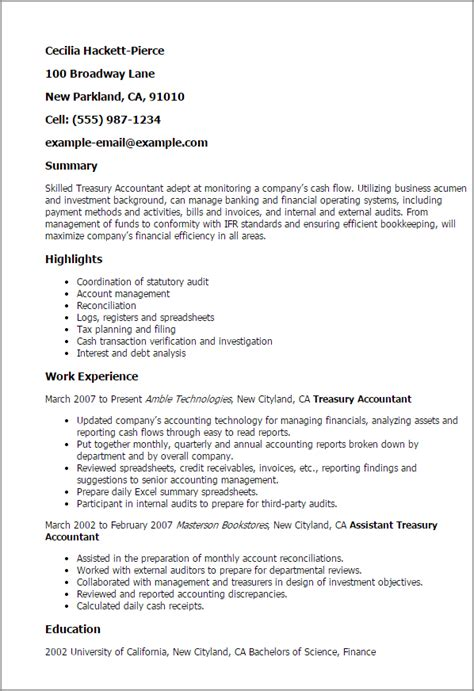 Treasury Accountant Cover Letter by 1 Treasury Accountant Resume Templates Try Them Now Myperfectresume